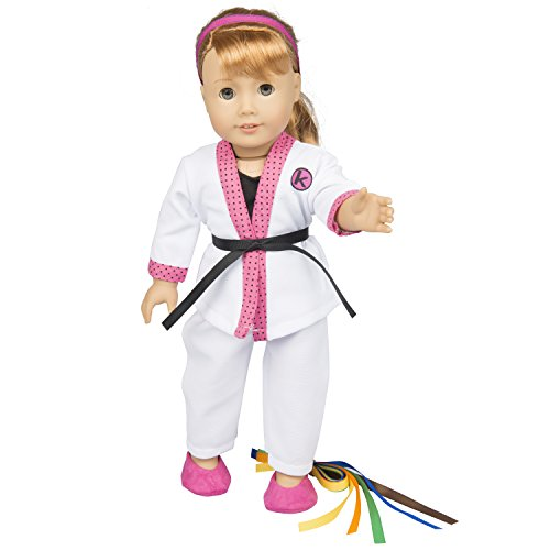 Karate Kid Outfit - Karate Outfit for American Girl Dolls - Handmade - (Includes Uniform, Shirt,Headband,Shoes and Belts)