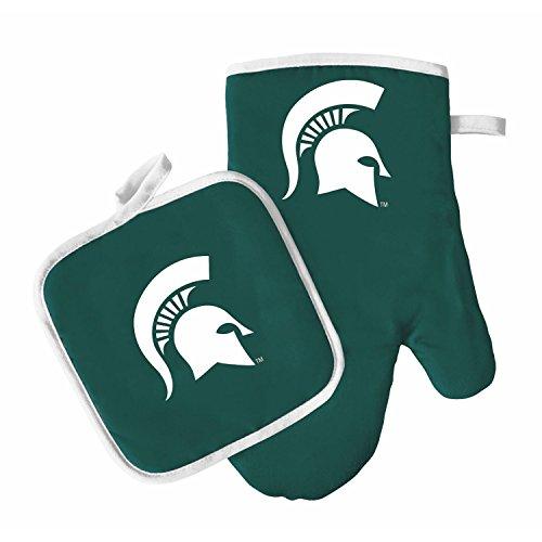 Oven Mitt and Pot Holder Set - Barbeque BBQ Kitchen Backyard Outdoors - NCAA - Michigan St Spartans - Michigan State Spartans Kitchen