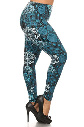 Leggings Depot Women's Popular BEST Printed Plus Size Fashion Leggings Batch4 (Blue Cotton)