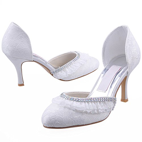 Minitoo GYMZ716 Womens Almond Toe Satin Evening Party Prom Bridal Wedding Shoes Pumps Sandals Flatfs White-7.5cm Heel RVe7ePt