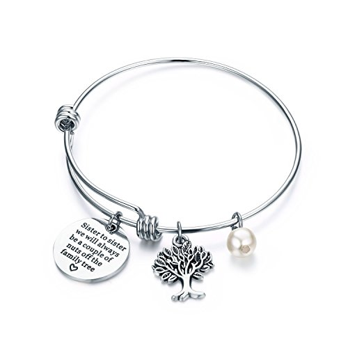 CJ&M Sister Bangle Bracelets Jewelry - Sister to Sister We Will Always Be, A Couple of Nuts from the Family Tree,Gift for Sister (Sister Gift)