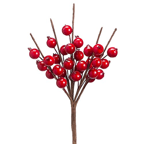 10'' Artificial Berry Spray Pick -Shiny Red (pack of 48) by SilksAreForever