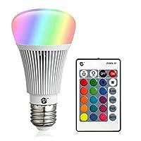 Bombillas LED RGB Bombillas de luz cambiante de color Base regulable de 10W E26 con luz blanca y control remoto A19 Bombilla de luz de inundación equivalente de 100 vatios (1 paquete)