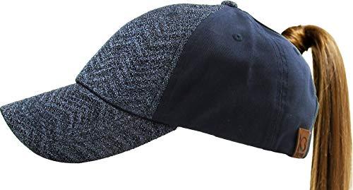 Pony-Glitter#3 NAV Chevron Glitter Ponytail Messy High Bun Headwear Adjustable Cotton Trucker Mesh Hat Baseball Cap (Ray-bun)