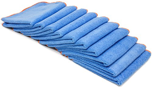 Antibacterial Microfiber Cloth 10 Pack - EPA Registered Lab Tested Results | Kills Viruses, Bacteria, MERSA, STAPH, ordors by Microfiber Pros (Blue)