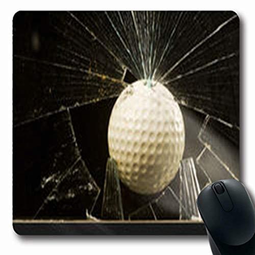 Pandarllin Mousepads Hit Golf Ball Impacting Team Glass Window Sports Recreation Crack Oblong Shape 7.9 x 9.5 Inches Oblong Gaming Mouse Pad Non-Slip Rubber Mat ()