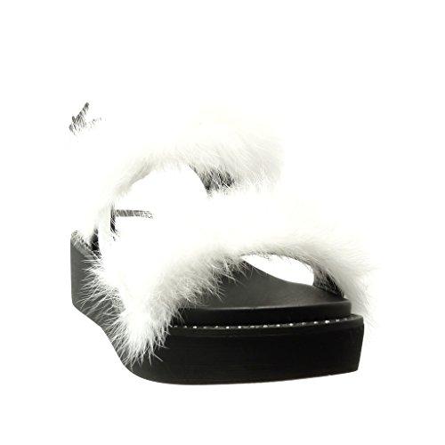 Angkorly - Chaussure Mode Sandale Mule plateforme femme pom-pom fourrure Talon compensé plateforme 5 CM - Blanc