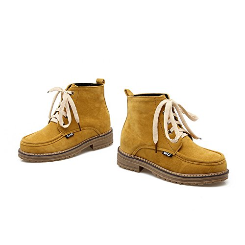 AgooLar Round Low Toe Frosted Women's Lace Heels Boots Closed Yellow up Solid InHIOrxq