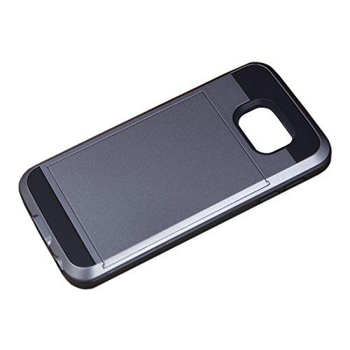 Telefon-Kasten - SODIAL(R)Karte Tasche Stossfeste Duenne Hybrid Mappe Abdeckung fuer Samsung Galaxy S7 Grau