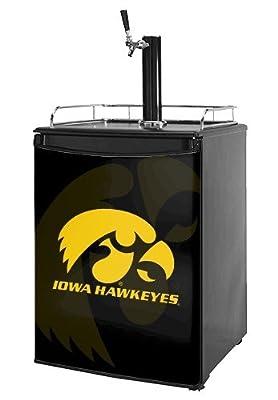 Kegerator Skin - Iowa Hawkeyes Herkey Gold on Black (fits medium sized dorm fridge and kegerators)