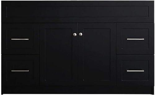 ARIEL Hamlet F055S-BC-BLK 54″ Inch Solid Wood Vanity Base Cabinet