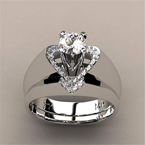 Weiy Creative Heart Design Crystal Diamond Bridal Wedding Rings Set Fashionable Charming Elegant Delicate Zircon Wedding Anniversary Engagement Ring Jewelry Accessories