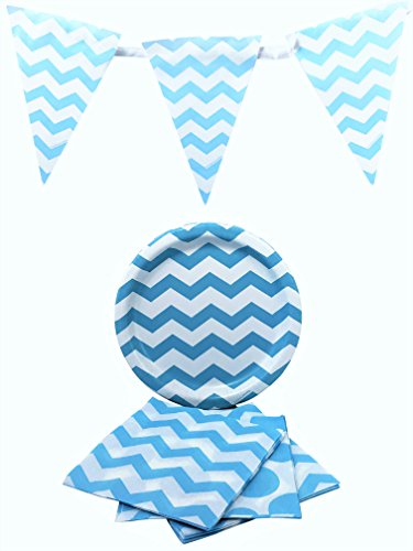 Blue Chevron Stripe and Polka Dot Party Supplies Bundle for 16 Guests: Paper Plates, Napkins and Flag Banner (Chevron Blue Dessert Plates)