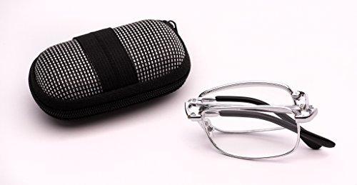 Fads & Fashions RG8A Occhiali da lettura pieghevoli, in metallo, colore: oro, con panno per la pulizia e 1 1,5 2 2,5 argento