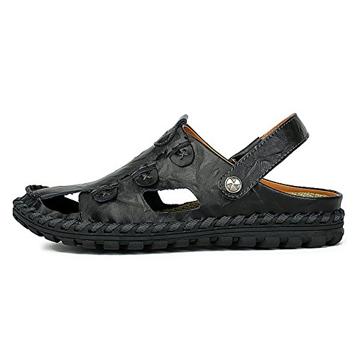 Summer Men's Sandals Hollow Leather Closed Toe Casual Breathable Beach Shoes Outdoor Sandals Trekking Shoes Black gD9T7