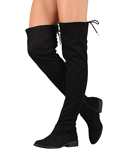 RF ROOM OF FASHION Suede Back Lace-Up Over The Knee Riding Boots - VI Black Su (6) (Suede Over The Knee Boots)