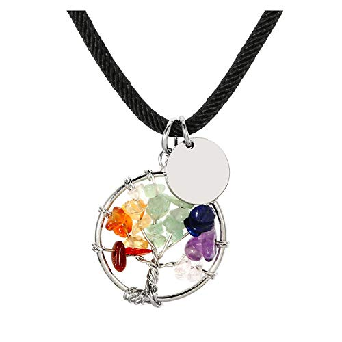 PESOENTH 7 Chakra Tree Life Pendant Wire Wrapped Amethyst Rose Crystal Necklace Gemstone Chakra Jewelry ()