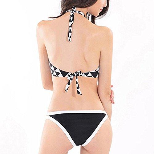 Moda negro y blanco rejilla colgando cuello correas bikini traje de baño partido Negro