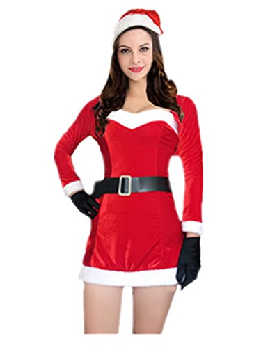 Leright Women's Christmas Costumes Long Sleeve Santa Holiday Lingerie Costume, Red, One Size fits for