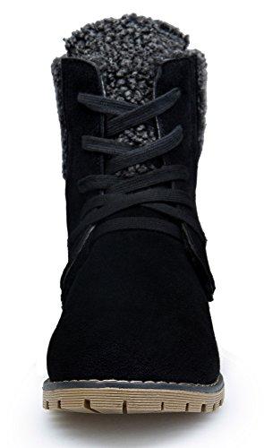 Negro Mujer Zapatos Koudyen Para Botas Boots Botines Ante Antideslizante 8wx5q0Rw