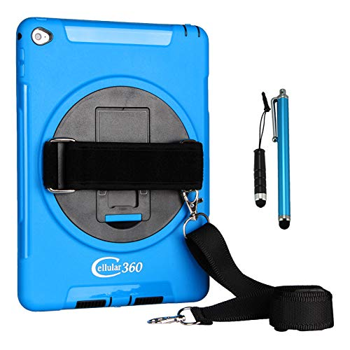 Cellular360 Shockproof Case for iPad Air 2 2014, Car Headrest Mount Case with 360 Degree Swivel Stand, Adjustable Handle and Shoulder Strap (Blue)