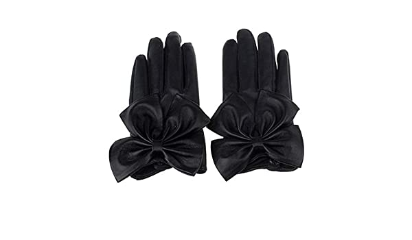 Fashion Women Winter Soft Gloves Butterfly Bow Wrist Leather Gloves Mittens New