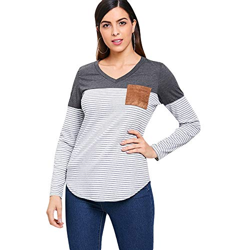 Personal care V Neck Breast Pocket Striped Panel T-shirt Facial care foot protection (Color : GRAY, Size : L)