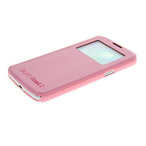 Galaxy Grand 2 Funda,COOLKE [Negro] Flip View window Cover PU Cuero Con Soporte Plegable para Carcasa Funda Tapa Case Cover para Samsung Galaxy Grand 2 G7106 Pink