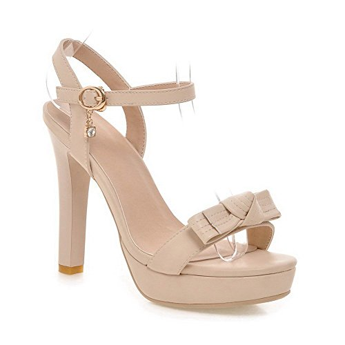 AllhqFashion Women's Buckle Open-Toe High Heels PU Solid Sandals apricot