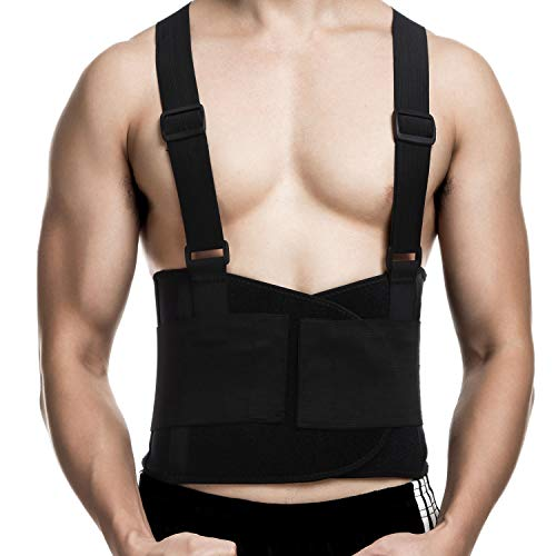 CFR Back Brace Working Support with Suspenders Adjustable Straps Belt Lower Waist Therapy Pain Relief for Heavy Lifting…