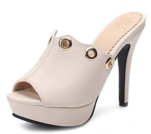 Aisun Women's Comfy Peep Toe High Stiletto Sandals with Platform Pink 26UteOy