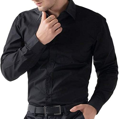 d6897ad14b2 BS Fashion Full Sleeve Black Color M Size Slim Fit Plain Casual Cotton Shirt  for