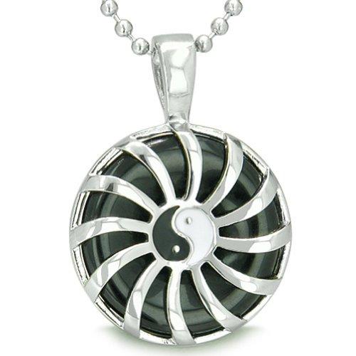 Sun Yin Yang Medallion Amulet Magic Circle Powers Simulated Black Onyx Pendant 18 Inch Necklace (Medallion Power Black)