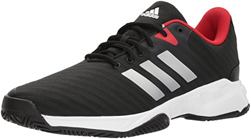 adidas Men's Barricade Court 3 Tennis Shoe, Core Black/White/Scarlet, 11 M US