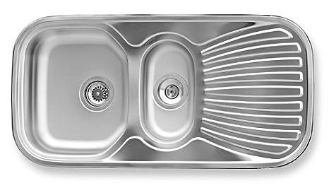 Modell Basic Sp/ülbecken 1 Becken mit Abtropffl/äche 80 x 48 x 16 cm