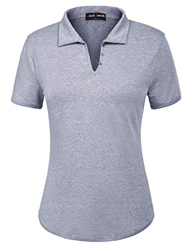 Womens Polo Top - JACK SMITH Ladies Wicking Athletic Golf Polo Shirts Tops Tees(S,Navy Grey)