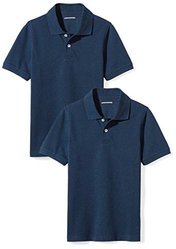 Amazon Essentials Boys' 2-Pack Uniform Pique Polo, Navy/Navy, S (Boys Navy Polo)
