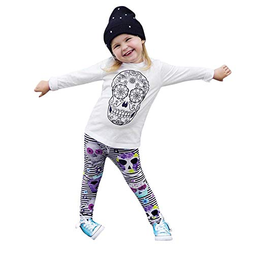kaiCran Baby Girls Halloween Clothes Skull Printed Tops Striped Leggings Pants Outfits Set for Toddler Girls (White, 70(0-6 Months))]()