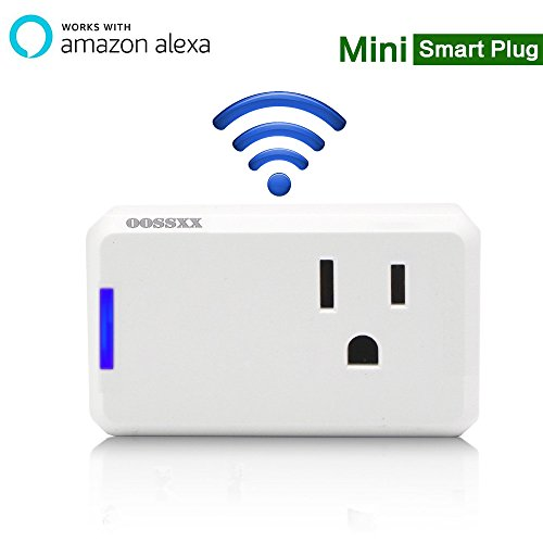 Superior Quality Mini Wifi-Enabled Smart Outlet By OOSSXX - No-Hub Wireless Plug - Compatible With Lights, Home Appliances - Remote Control With Smartphone/Tablet - Works W/ Amazon Alexa