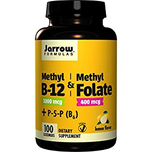 Jarrow Formulas Methyl B 12/Methyl Folate and Pyridoxal 5 phosphate (P 5 P) Lozenges, Supports Brain Health, 100 Count