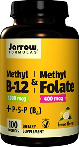 Jarrow Formulas Methyl B-12/Methyl Folate and Pyridoxal-5-phosphate (P-5-P) Lozenges, Supports Brain Health, 100 Count - Jarrow B-12 Vitamins