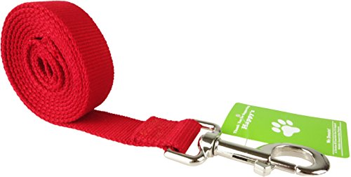 Happy's Organic Bamboo Dog Leash Eco Friendly Pet Lead 6 Foot Long 1 Inch Wide (Red)