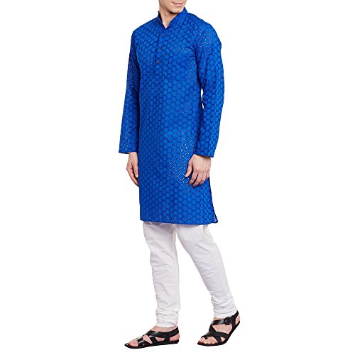 Mens Embroidered Cutwork Cotton Kurta With Churidar Pajama Trousers Machine Embroidery,Blue Chest Size: 46 Inch by ShalinIndia (Image #2)