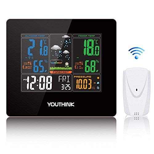 Zerone Wireless Weather Station Clock, Forecast Station Home Alarm Clock with Temperature and Humidity Monitor, 330ft Wireless Range Color Forecast Station Large Digital Display