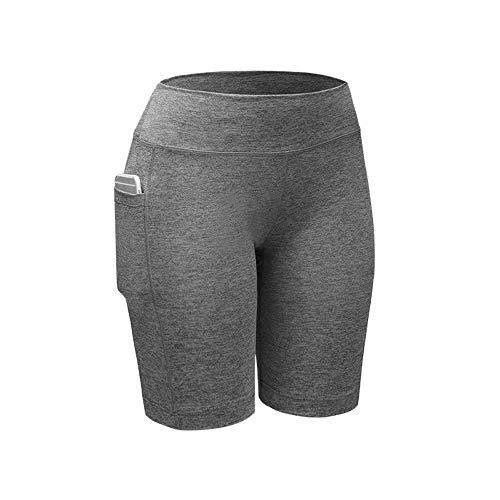 FONMA Women's High Waist Yoga Pants Pockets Tummy Workout Running Sports Shorts Pants Gray -