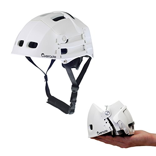Foldable helmet Plixi Fit - for bike, kick scooter, skateboard, overboard, e-bike - CPSC standard, same protection as classic helmet - Volume divided by 3 when folded (White, S/M)