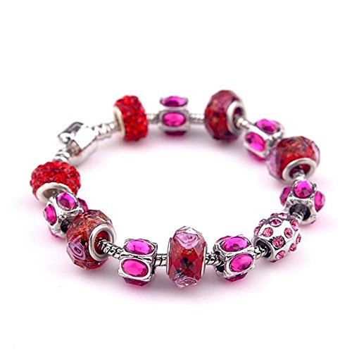 The Starry Night Pink Diamond Accented Glass Beaded Charming Crystal Red Lover DIY Bracelet (Lincoln Glass Shelf)