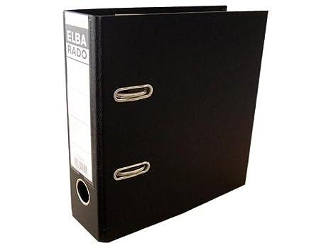 ELBA Kunststoff-Ordner rado plast A5 hoch 7,5 cm breit schwarz mit Einsteckrückenschild Ringordner Aktenordner Briefordner Bü