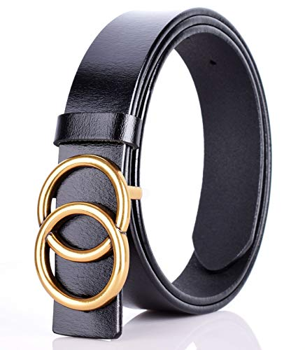 - Double O-Ring Gold Buckle Unisex Cowhide Leather Belt Vintage Thin Dress Belts For Jeans(Black-1.5