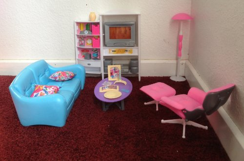Gloria dollhouse furniture family room tv couch ottoman - Barbie living room dress up games ...